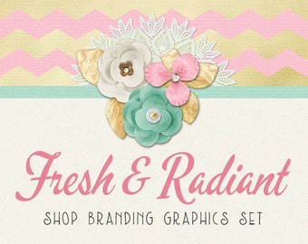 Pink Gold Floral Shop Branding Banners, Avatar Icons, Business Card, Logo Label + More - 13 Premade Graphics Files - FRESH & RADIANT