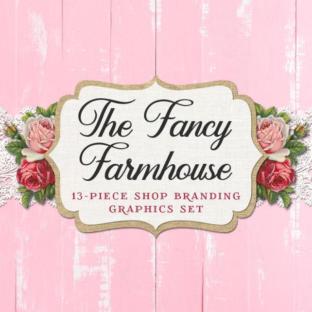 e962e6fa509e6 Shabby Chic Floral Shop Branding Set: Banners, Icons, Business Card ...