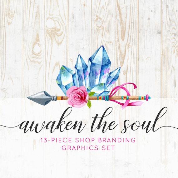 More 13 Premade Branding Graphics Files Logo Label WATERCOLOR MANDALA Business Card Avatar Icons Mandala Boho Etsy Shop Banners