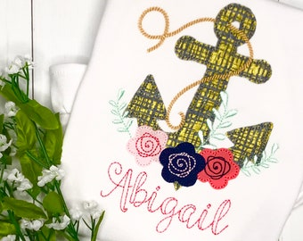Anchor applique tee etsy