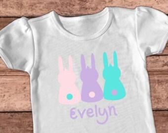 Easter Bunny Shirt, Personalized T-shirt, Baby Girl Outfit, Kid's Rabbit Shirt, Raglan Top, Toddler Tee, Easter Egg Hunt, Pink Lavender Aqua