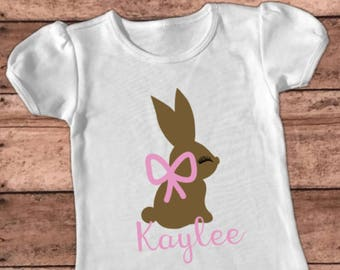 Chocolate Bunny Shirt, Easter Bunny T-shirt, Personalized, Baby Girl Outfit, Kid's Rabbit Shirt, Raglan Top, Toddler Tee, Easter Egg Hunt