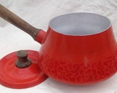 Orange Enamel Pot with matching Lid, wooden handle Imperial International
