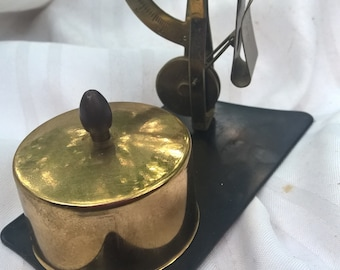 Brass Postal Scale and Stamp Keeper