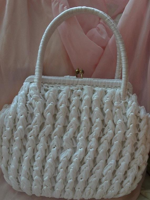 Purse White Straw Handbag vintage, Immaculate Cond