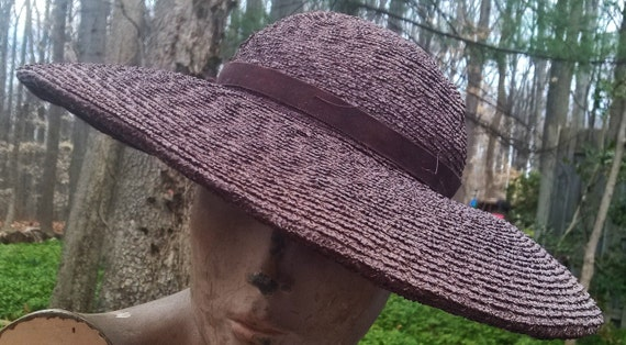 dfbdf1d1ade Ladies Vintage Straw Hat Navy Blue Wedding Wear