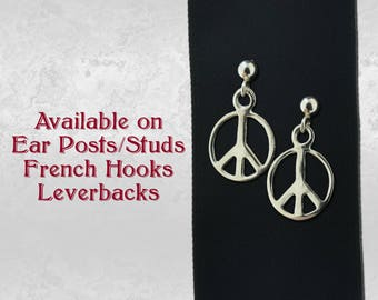 Peace Sign Symbol Pair of Charm Earrings in Sterling Silver 925 Jewelry, Earring Studs, French Hooks or Leverback Choice