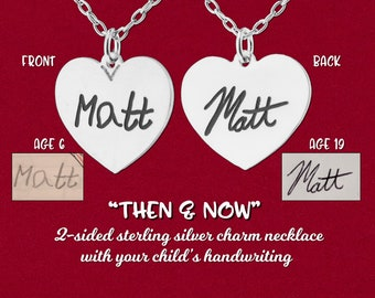 Then & Now Engraved Heart Charm Mom Necklace with Your Child's Handwriting 925 Sterling Silver Personalized Keepsake Original Design Pendant