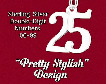 "Custom Double 2 Digit Number Charm ""Pretty Stylish"" Design Sports Uniform, Year Pendant 925 Sterling Silver Personalized Jewelry Necklace"
