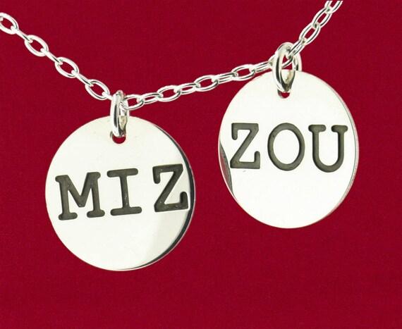 MIZ ZOU Charm Your Choice or Both MIZZOU Engraved Pendant 925 Sterling Silver Jewelry No Chain