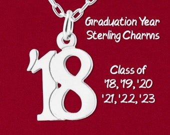Graduation Year '18, '19, '20, '21, '22, '23 Double Digit Handmade Pendant 925 Sterling Silver Jewelry - Charm Only