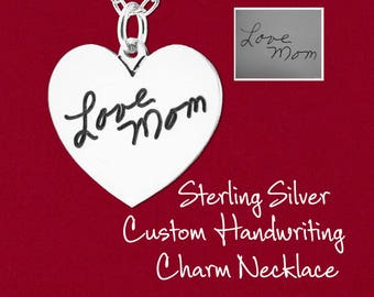 Custom Handwriting Charm Pendant w/ Optional Necklace Engraved From Your Photo Heart 925 Sterling Silver Personalized Memorial Jewelry
