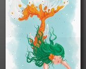 A3 Orange Mermaid Print...