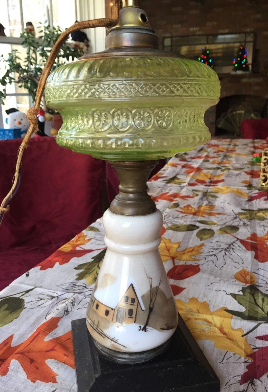 Mount Washington Vaseline Glass Kerosene Lamp 1870/'s Oil Lamp SMITH COMPANY