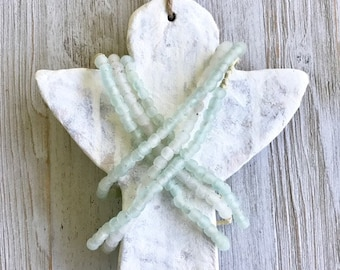 Angel of God's Army.  Huge Chunky Hand Sculpted Clay Angel Adorned w/ Sea Glass Recycled Glass Beads and Jute.  House blessing Art Hanging.