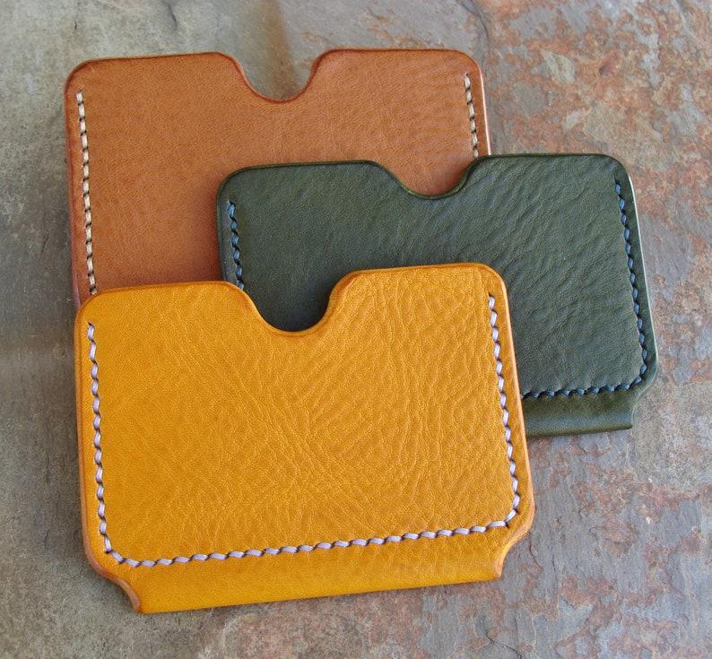 Minimalist Wallet Unisex Wallet Italian Leather Yellow Leather Single Slot Card Holder