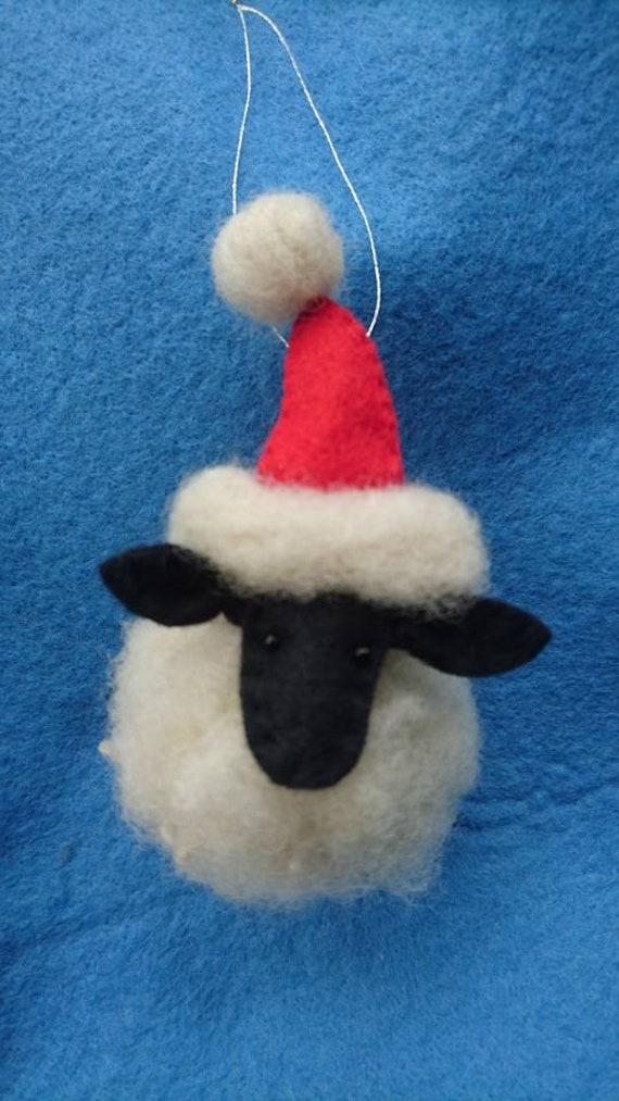 Set Of 4 Needle Felted Santa Sheep Christmas Tree Ornaments Christmas Tree Decorations