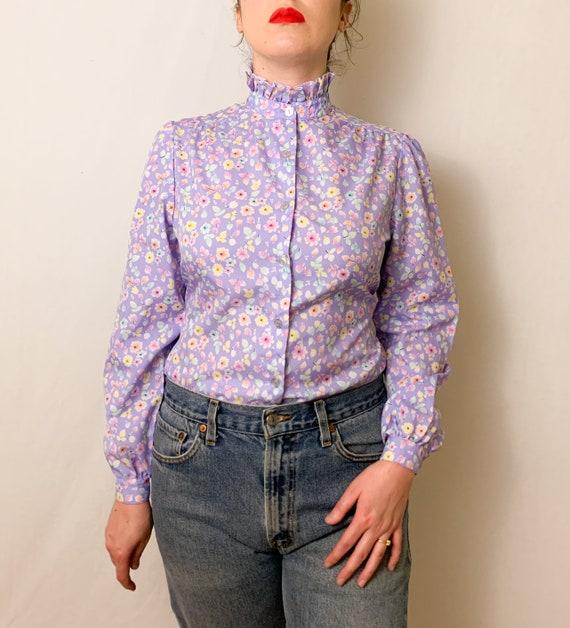 Vintage Lilac Floral Ruffle Neck Button-Up Blouse - image 6