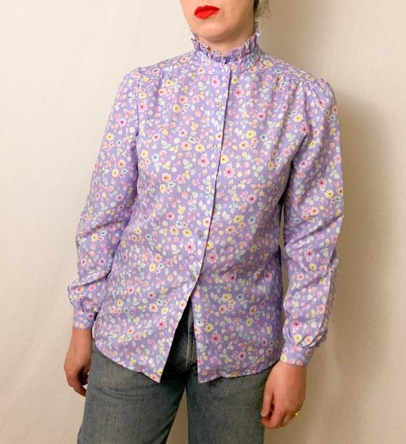 Vintage Lilac Floral Ruffle Neck Button-Up Blouse - image 4