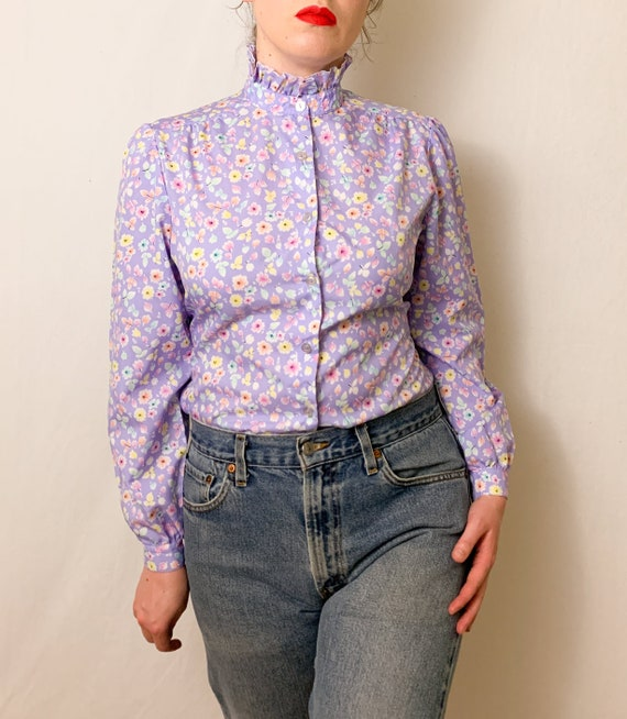 Vintage Lilac Floral Ruffle Neck Button-Up Blouse - image 1
