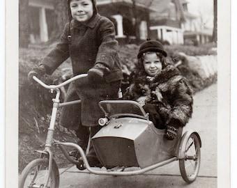"Digital Download: ""Happy Boy & Girl In Sidecar Tricycle"" 1940s-1950s Vintage Snapshot Photo"