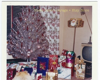"Digital Download: ""Tinsely Xmas Tree With TV & Lamp"" 1960s Vintage Snapshot Photo Mid-Century Modern Kodacolor Print"