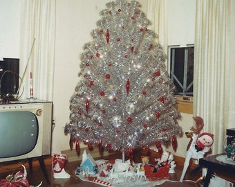 Aluminum Xmas Tree, Red Theme Ornaments With Modern TV ~ 1960s Vintage Snapshot Photo Mid-Century Modern Kodacolor Print; Digital Download