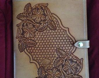 Hand tooled leather portfolio/notebook