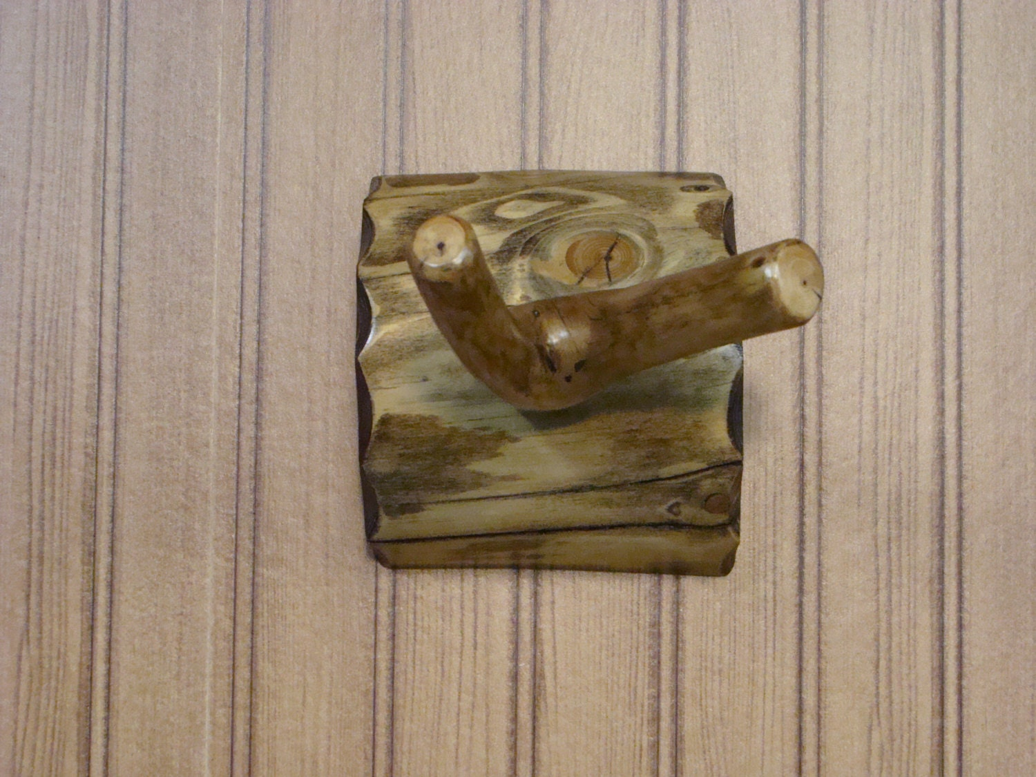 Rustic Shower Bath Branched Peg Towel Robe Hook Log Back