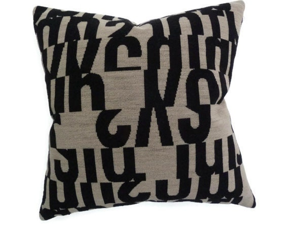 Pillow with Maharam LETTERS fabric designed by Gunnar Andersen