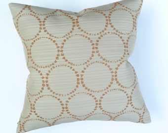 """Modern Accent Pillow -  Momentum Textiles """"Stucco"""" - Circles and metallic lines design - 17"""" x 17"""" feather/down"""