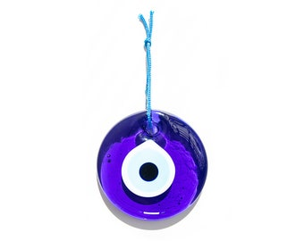 """Evil Eye Charm Blue Wall Hanging 3 inches """"7.5 cm"""" Home Protector Glass Beads Beautiful evil eye home decor Made in Turkey"""