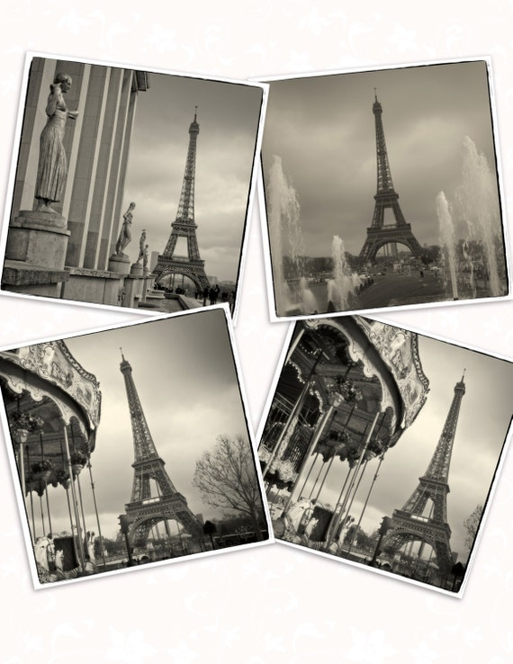 Coasters 4 X 4 Vintage Eiffel Tower Paris Etsy