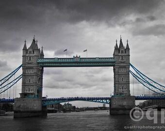 Tower Bridge black and white hand colored