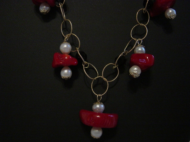 Genuine Coral Freshwater Pearls and Jet Crystals on Gold Filled Chain Necklace  Matching Earrings