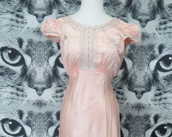 40s Pink Satiny Nylon Nightie with Sheer Mesh Accents / L / XL