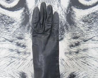 50s / 60s Black Kid Gloves by Aris of Paris / Size 7