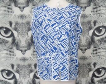 60s Cotton Chess Novelty Print Smock / Tank / Shirt / L / XL