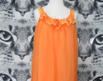 60s Orange Nightie with Floral Lace Details / L