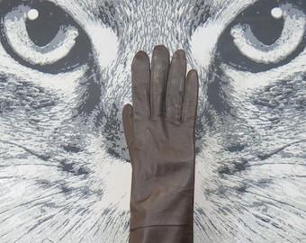 60s / 70s Brown Nylon Gloves / L