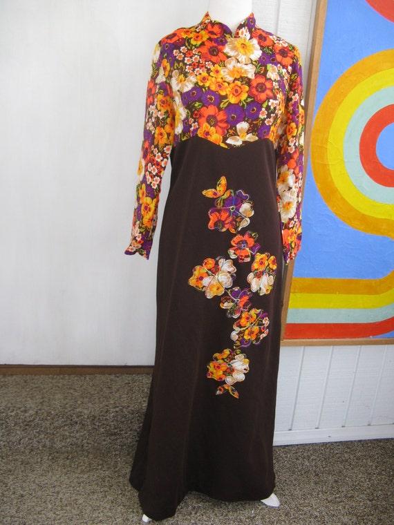 60s Neon Flower Power Maxi Dress / L / XL