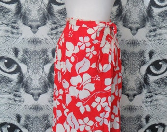 60s Red and White Aloha Wrap Skirt / S
