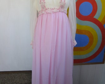 70s Pink Lace Formal Gown / L