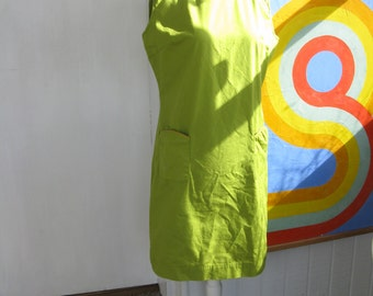 60s / 70s Yellow / Green Scooter Dress With Piping (L / XL)