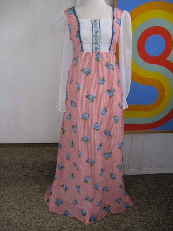 60s Blue Rose Cotton Blend Maxi Dress / Made in Ca