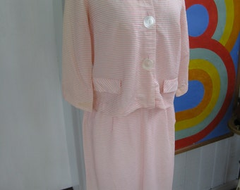 60s Pink and White Striped Suit / L / XL