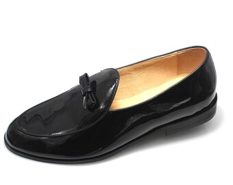 fade551eb486 Smythe   Digby Men s Black Patent Leather Belgian Loafers