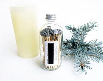 "Grey 4"" Long Matches in a Jar. Modern Gray Wooden Matchsticks. Strike on Bottle. Candle Matches. Matchstick Container. Glass Match Holder."