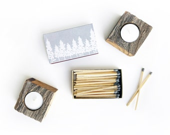 White Forest Large Candle Matchbox. Woodland Creatures Matchbook. Long Gray Matches. Wanderlust Gift. Cozy Modern Grey + White Pine Trees.