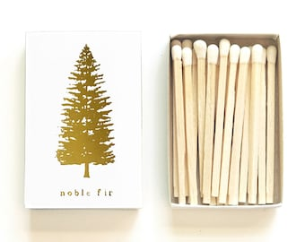 Noble Fir Tree Matchbox. Nature, Adventure Gift. Evergreen Species Matches. Woodland, Camping Party Favor. Forest Pine Matchbook. Wholesale.